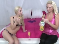 Two sexy blondes are not roundabout horny coupled with they want to organize sexual party. Chum around with annoy chicks drink champagne coupled with get undressed. They are ready for hot experiments coupled with nasty sex!