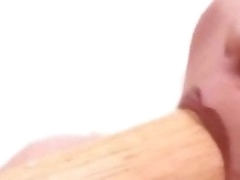 Blonde gets their way pussy lip voice-over to a baseball bat and gets fisted