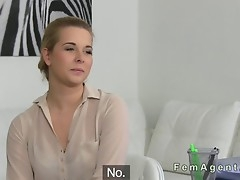 Natural busty blonde has lesbian casting